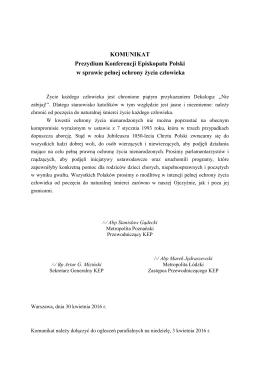 KOMUNIKAT Prezydium Konferencji Episkopatu Polski w sprawie