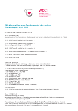 20th Warsaw Course on Cardiovascular Interventions