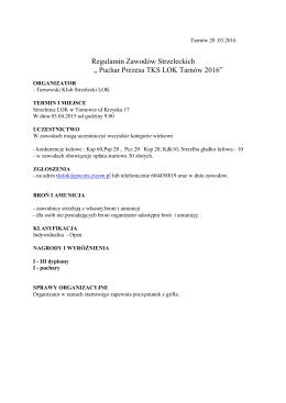 Regulamin zawodów strzeleckich o Puchar Prezesa TKS LOK