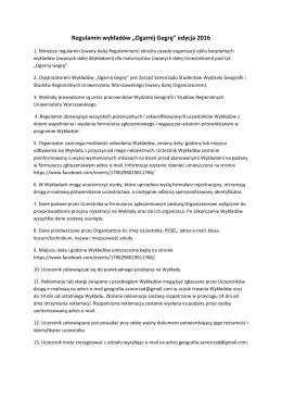 """Regulamin wykładów """"Ogarnij Gegrę"""" edycja 2016"""