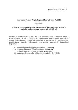 Informacja Prezesa Urzędu Regulacji Energetyki nr 17/2016 w