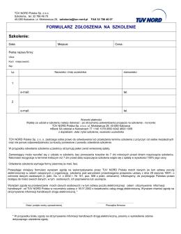 Formularz zgłoszenia - Pracodawcy Pomorza