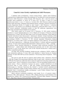 Umarł dr Artur Górski, współzałożyciel AKO Warszawa
