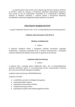 Szabályzat - Prosperitati Alapítvány
