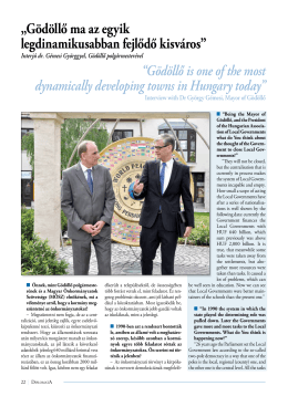 Interjú dr. Gémesi Györggyel, Gödöllő polgármesterével