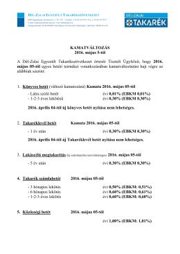 Betétkamat változás 2016.05.05-től - Dél