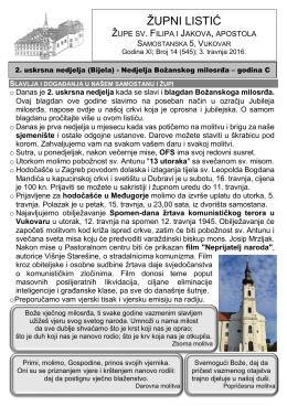 župni listić - Župa sv. Filipa i Jakova | Vukovar