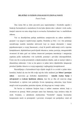 BILJEŠKE O FIZIOPATOLOGIJI FUZIONALNOSTI Paolo Fonda Ono