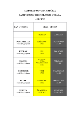 raspored odvoza vrećica općine i grad nin
