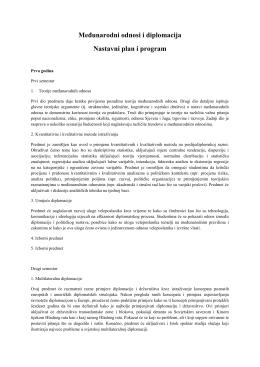 Međunarodni odnosi i diplomacija Nastavni plan i program