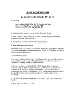 UPUTE PONUDITELJIMA po Javnom nadmetanju br. MP-02-16