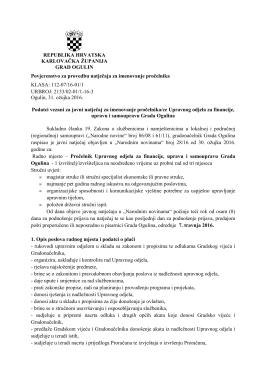 Upravnog odjela za financije, upravu i samoupravu Grada Ogulina