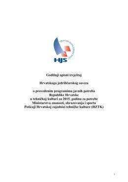 Godišnji opisni izvještaj Hrvatskoga jedriličarskog saveza o - HJS-a
