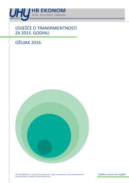 uhy hb ekonom - izvješće o transparentnosti za 2015. godinu.