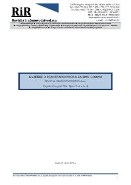 izvješće o transparentnosti za 2015. godinu
