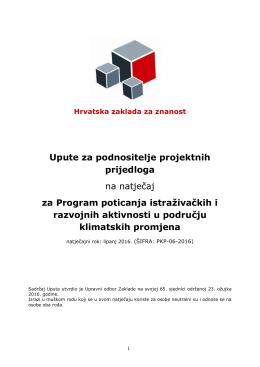 upute za podnositelje projektnih prijava na natječaj
