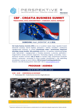 Program Agenda CBS Croatia Business Summit