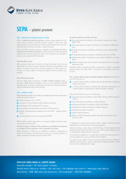 SEPA - platni promet - Hypo Alpe-Adria