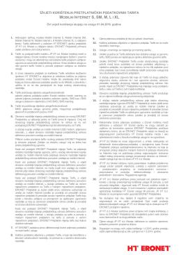 Uvjeti korištenja MI tarifa S SM M L XL
