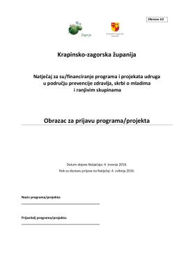 Krapinsko-zagorska županija Obrazac za prijavu programa/projekta