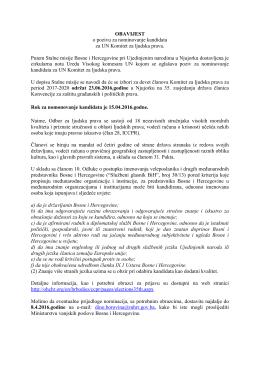 OBAVIJEST o pozivu za nominovanje kandidata za UN Komitet za