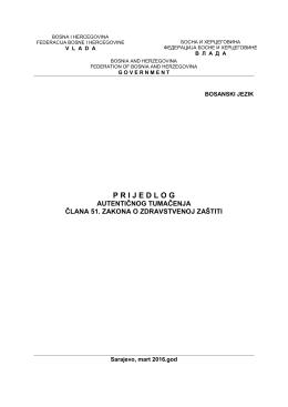 Prijedlog za davanje autentičnog tumačenja člana 51. Zakona o