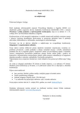 Studentska konferencija InfoDASKA 2016. Poziv na sudjelovanje