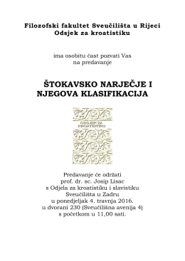 štokavsko narječje i njegova klasifikacija