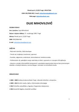 Preuzmite CV - Duje Mihovilović