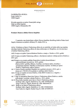 Odluke Glavne skupštine 29.03.2016.