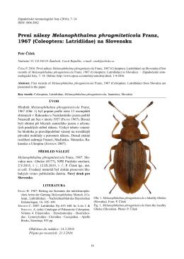 První nálezy Melanophthalma phragmiteticola Franz, 1967
