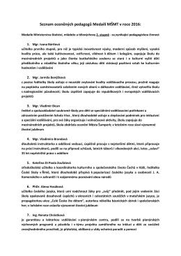 Seznam oceněných pedagogů Medailí MŠMT v roce 2016