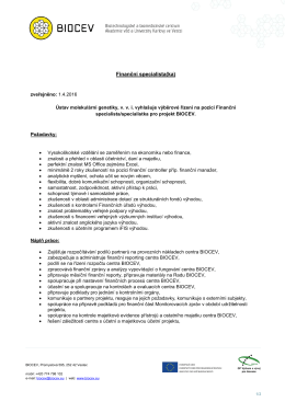 Finanční specialista(ka) - Ústav molekulární genetiky AV ČR, vvi