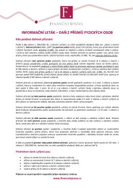 Informační leták - Daň z příjmů fyzických osob za r. 2015