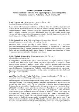 Anotace přednášek na semináři Pařížská dohoda o klimatu 2015 a