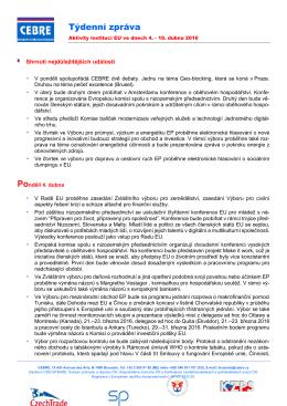 Týdenní zpráva - Svaz průmyslu a dopravy České Republiky