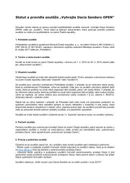 Statut a pravidla soutěže - Dacia Česká republika