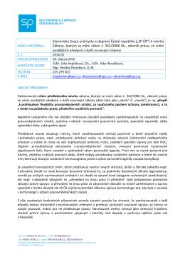 """(""""SP ČR"""") k návrhu Zákona, kterým se mění zákon č. 262/2006 S"""
