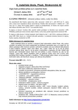 Obecné informace 6. MŠ - ZŠ TG Masaryka a MŠ Písek
