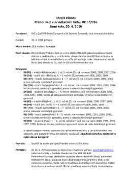 Rozpis závodu Přebor škol v orientačním běhu 2015/2016 Jarní kolo