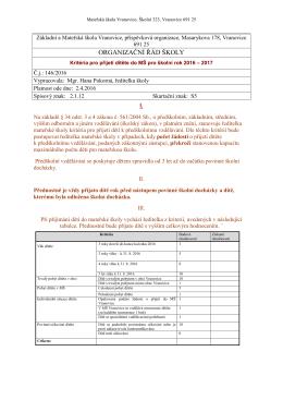 Kritéria pro přijetí