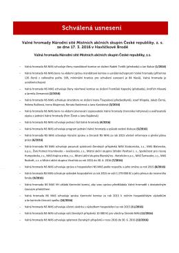 - Valná hromada NS MAS schvaluje členy mandátové komise ve