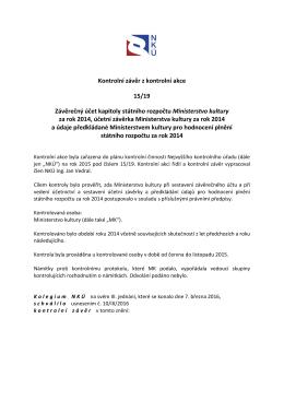 Kontrolní závěr z kontrolní akce NKÚ č. 15/19