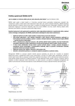 Politika společnos Politika společnosti ŠKODA a