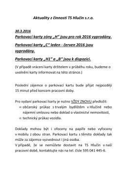 """Aktuality z činnosti TS Hlučín s.r.o. Parkovací karty zóny """"H"""" jsou pro"""