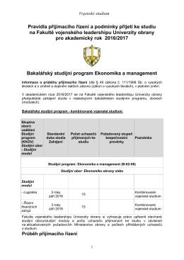 Přijímací řízení do bakalářských studijních