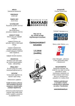 ČERNOHORSKÝ SOUDEK 1.5.2016 (neděle)