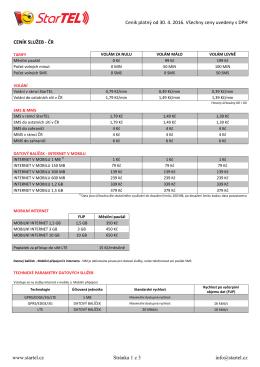 Kompletní ceník platný od 30. 4. 2016