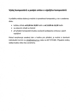 Výdej kompostérů a podpis smluv o výpůjčce kompostérů