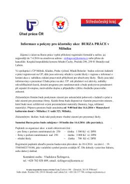 Informace a pokyny pro účastníky akce BURZA PRÁCE v Mělníku